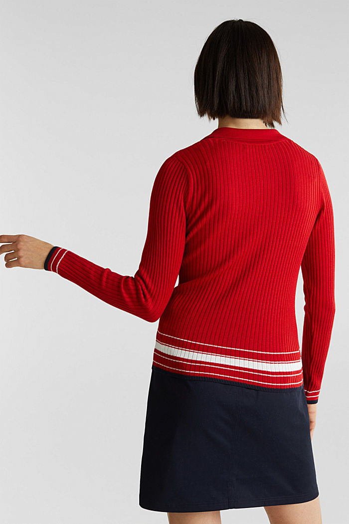 Ribbed jumper with stripes, recycled, DARK RED, detail image number 3
