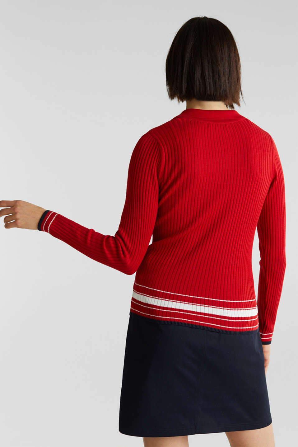 Ribbed jumper with stripes, recycled, DARK RED 3, detail image number 3