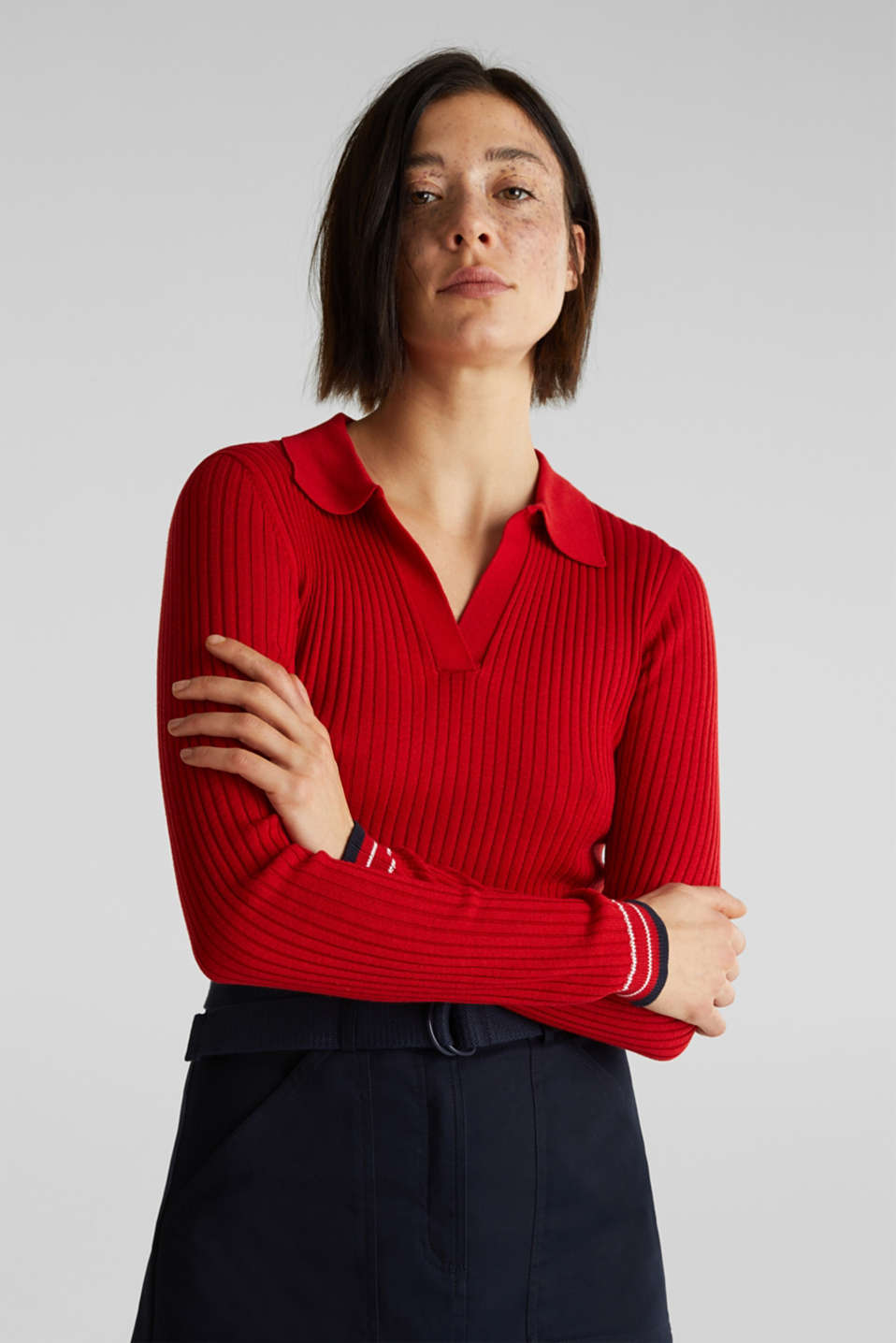 Ribbed jumper with stripes, recycled, DARK RED 3, detail image number 6