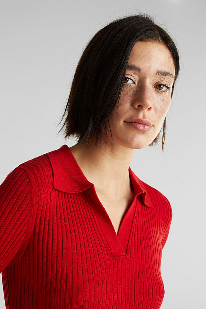 Ribbed jumper with stripes, recycled, DARK RED, detail image number 2