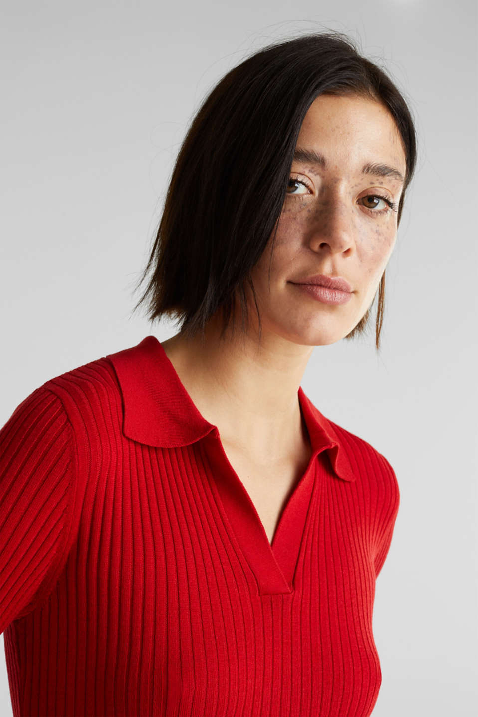 Ribbed jumper with stripes, recycled, DARK RED 3, detail image number 2