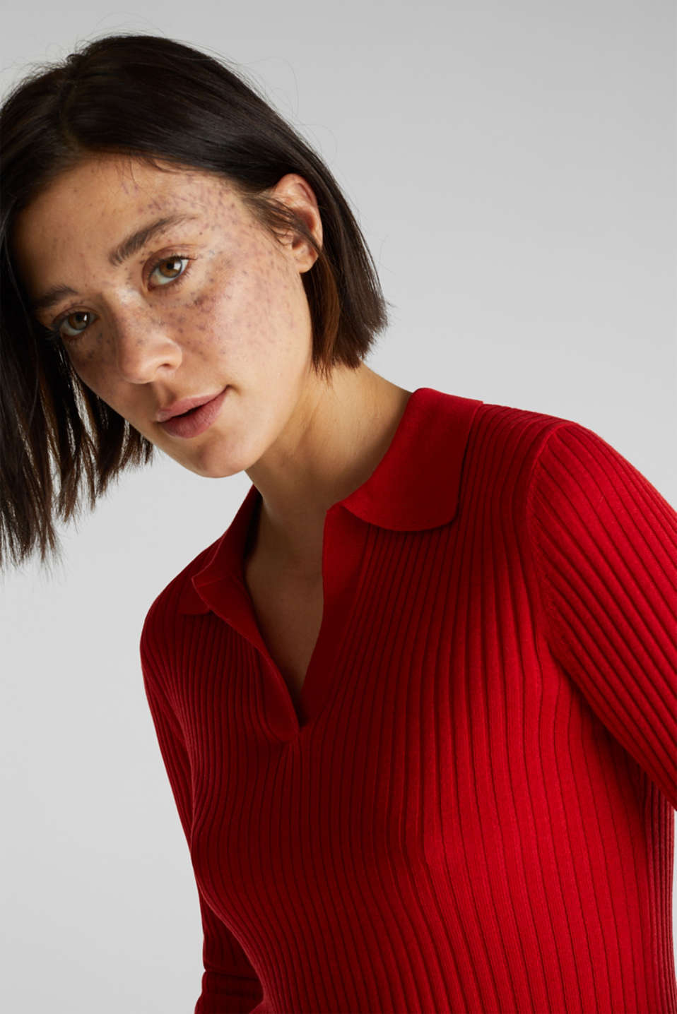 Ribbed jumper with stripes, recycled, DARK RED 3, detail image number 7