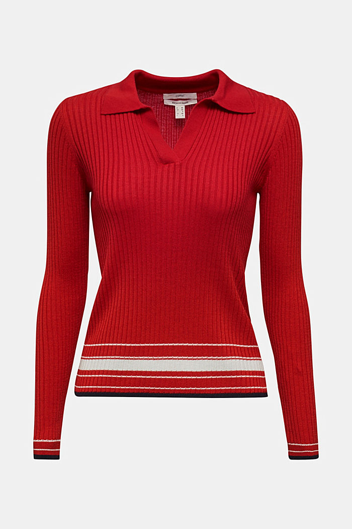 Ribbed jumper with stripes, recycled, DARK RED, detail image number 9