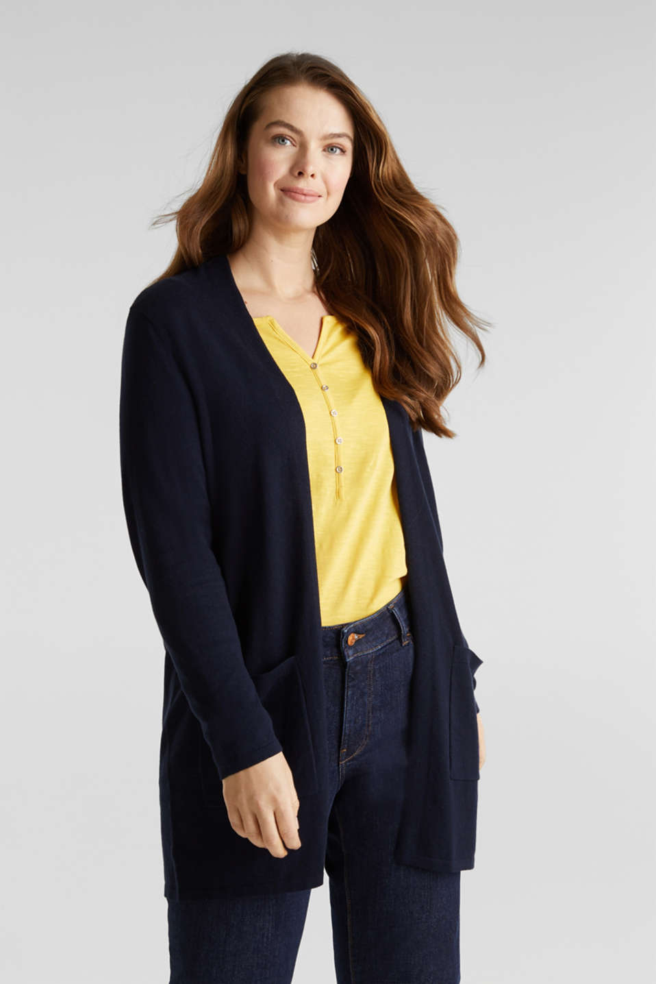 CURVY with linen: open, fine knit cardigan, NAVY, detail image number 0