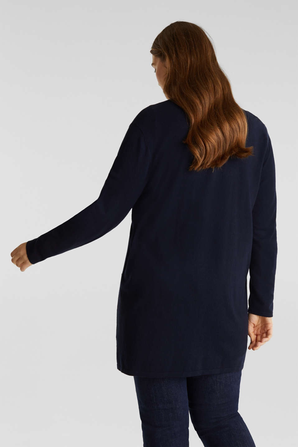 CURVY with linen: open, fine knit cardigan, NAVY, detail image number 3