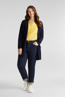 CURVY with linen: open, fine knit cardigan, NAVY, detail