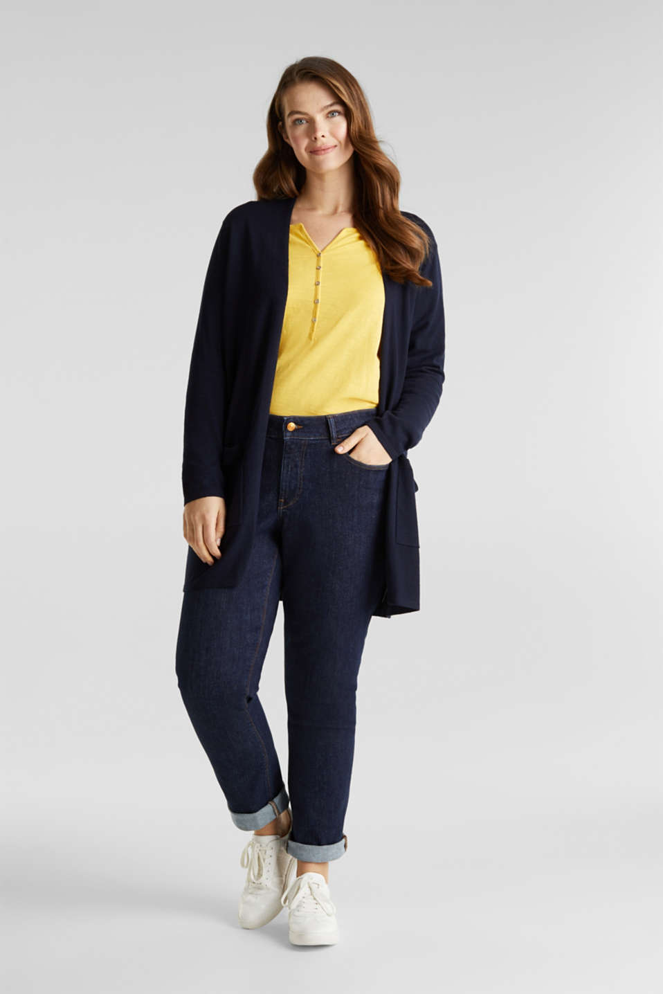 CURVY with linen: cardigan, NAVY, detail image number 1