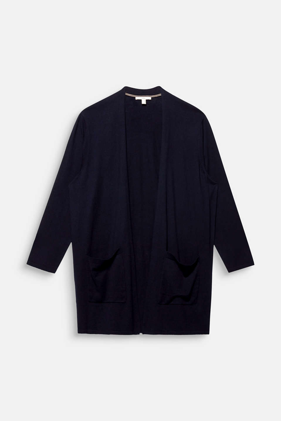 CURVY with linen: open, fine knit cardigan, NAVY, detail image number 5