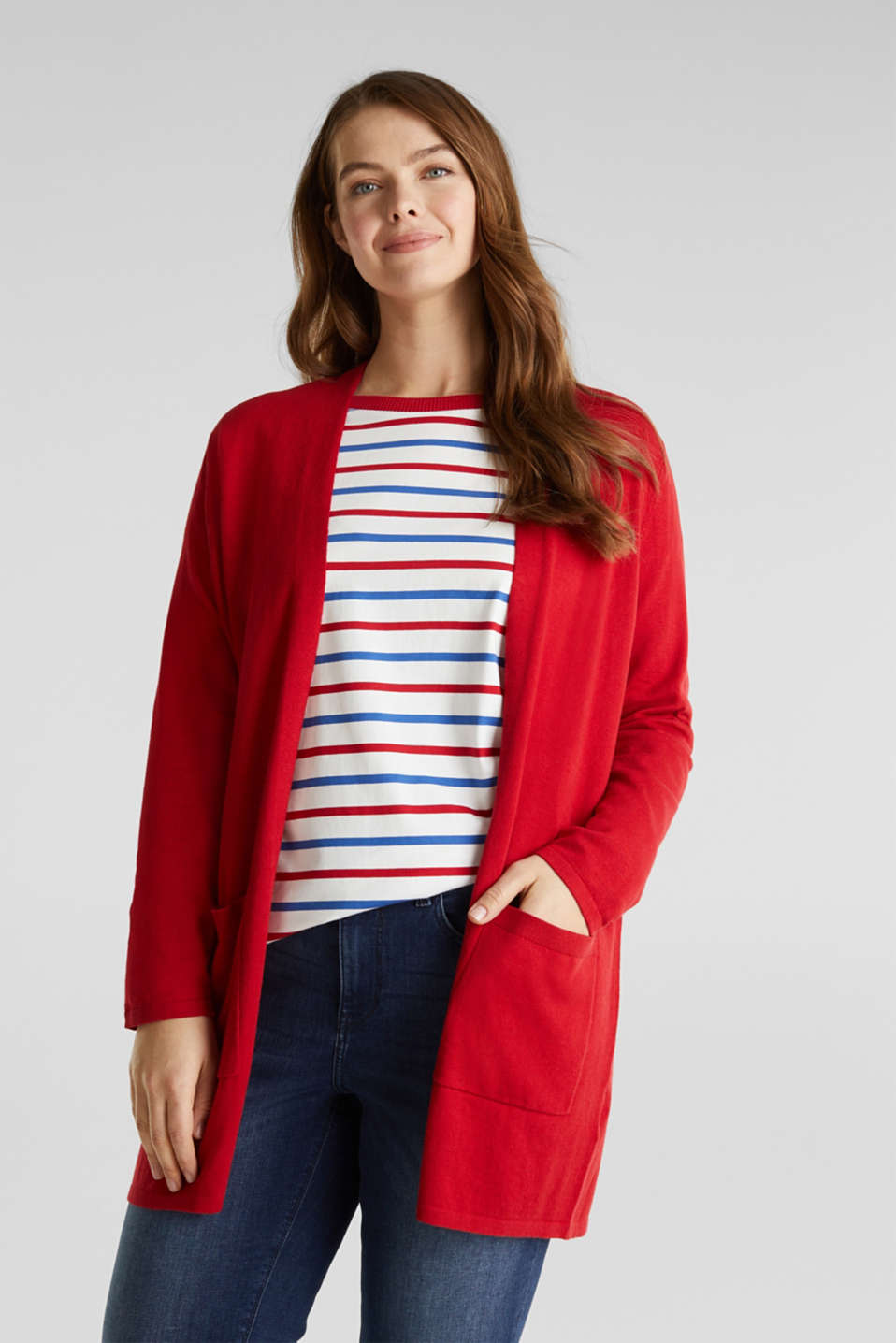 CURVY with linen: cardigan, DARK RED, detail image number 0