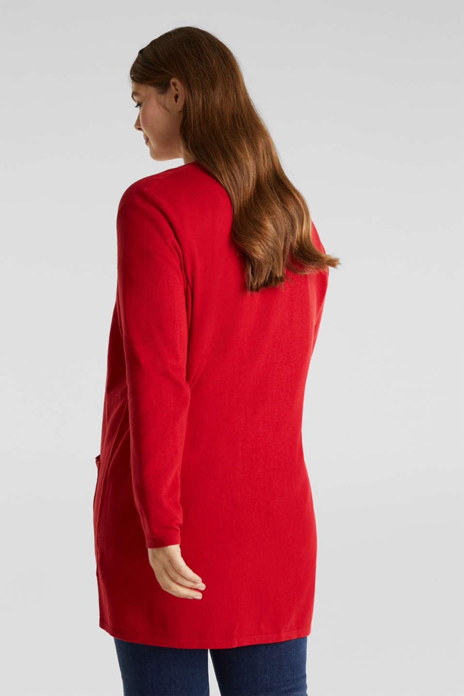 CURVY with linen: cardigan, DARK RED, detail image number 3