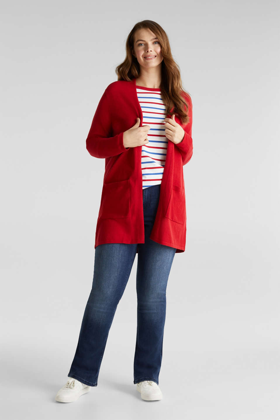 CURVY with linen: cardigan, DARK RED, detail image number 1