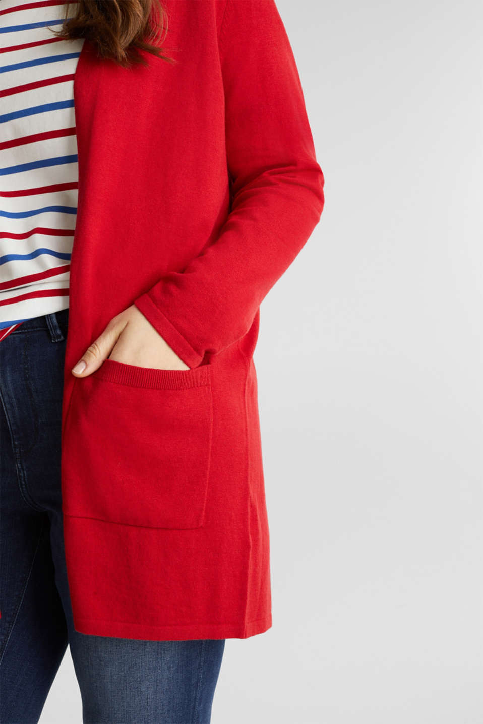 CURVY with linen: cardigan, DARK RED, detail image number 2