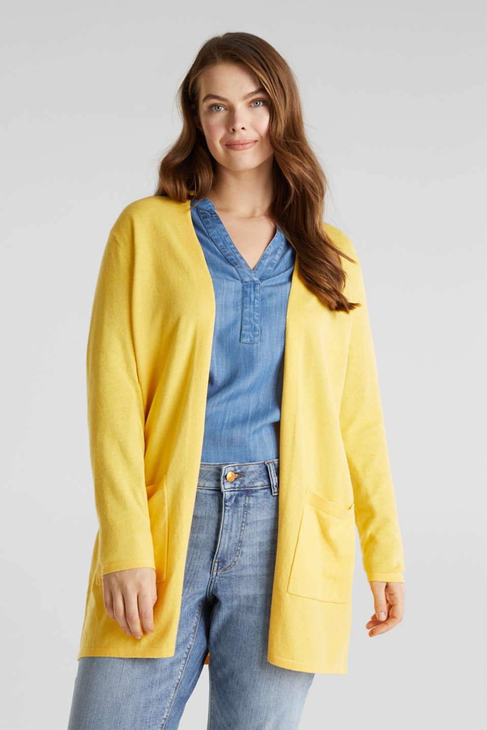 CURVY with linen: cardigan, YELLOW, detail image number 0