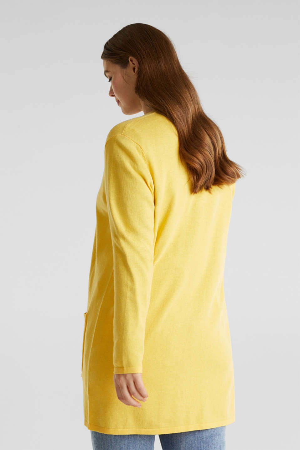 CURVY with linen: cardigan, YELLOW, detail image number 3