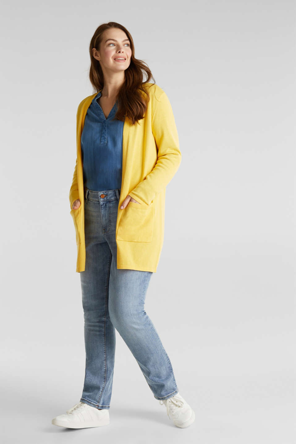 CURVY with linen: cardigan, YELLOW, detail image number 1