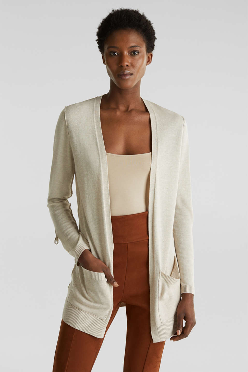 With linen: open-fronted cardigan with pockets, LIGHT BEIGE, detail image number 0