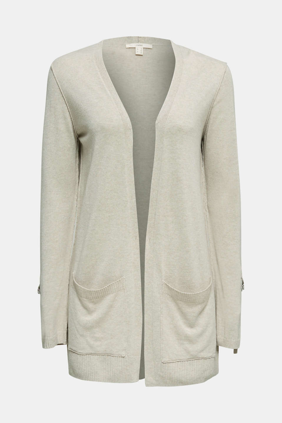 With linen: open-fronted cardigan with pockets, LIGHT BEIGE, detail image number 5