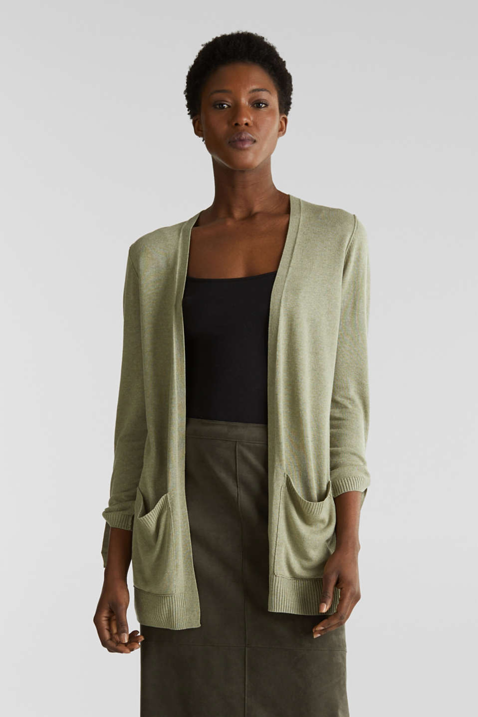 Esprit - With linen: open-fronted cardigan with pockets