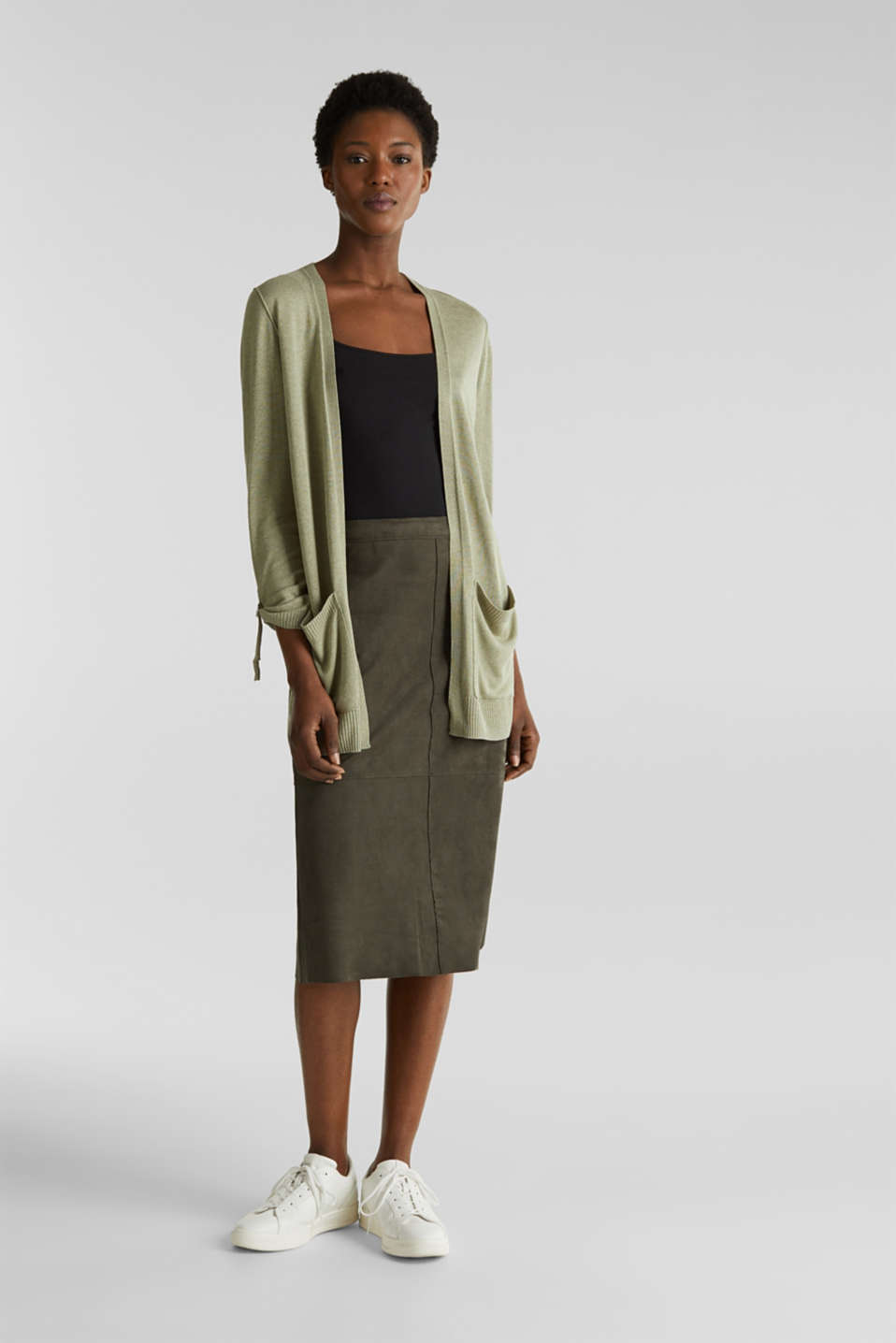 With linen: open-fronted cardigan with pockets, KHAKI GREEN 5, detail image number 1