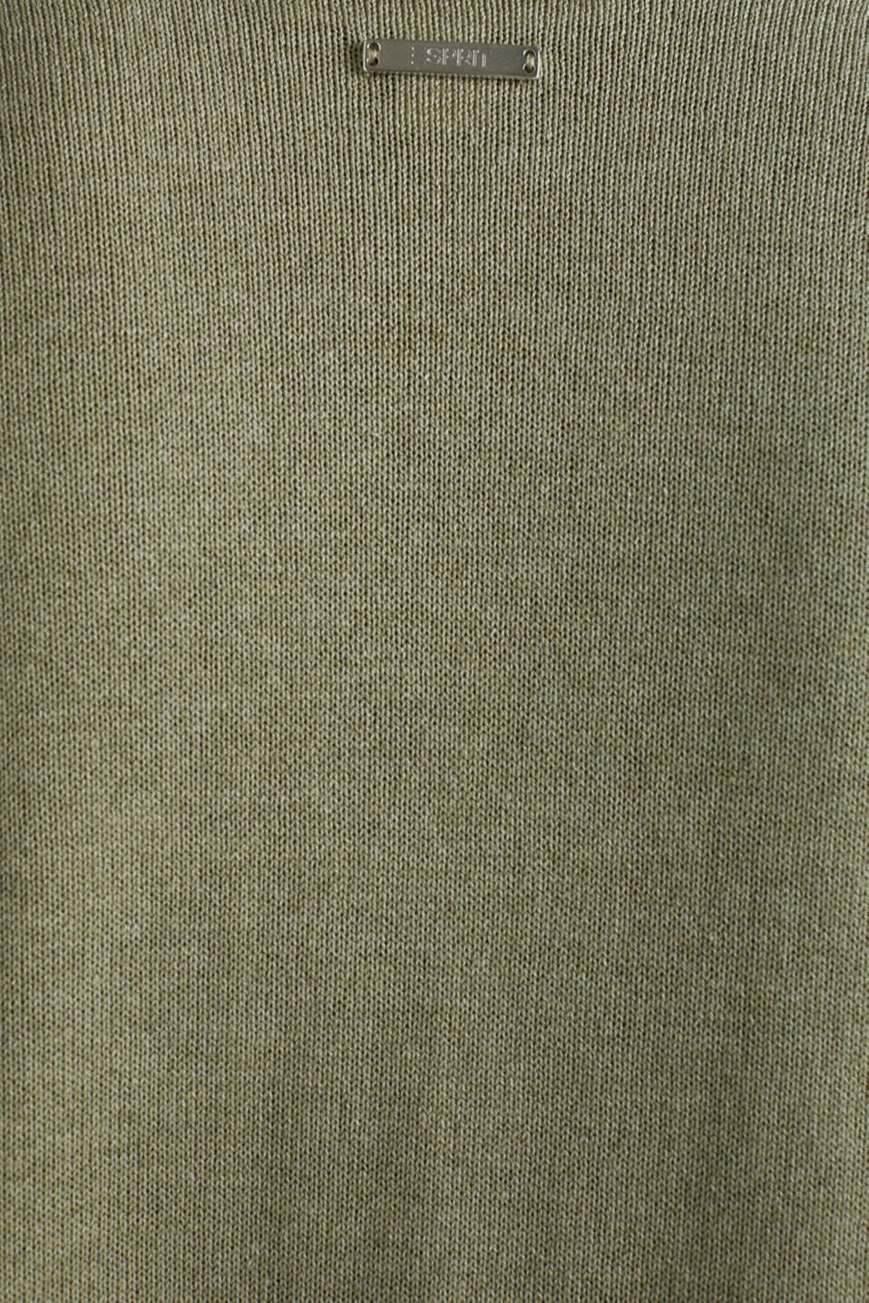 With linen: open-fronted cardigan with pockets, KHAKI GREEN 5, detail image number 4