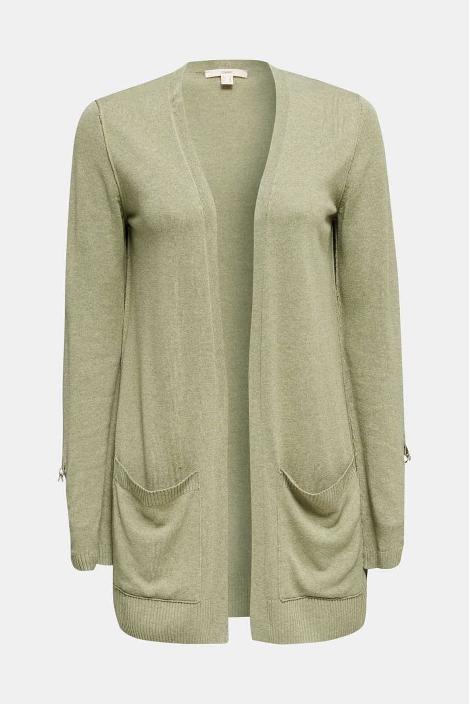 With linen: open-fronted cardigan with pockets, KHAKI GREEN 5, detail image number 6