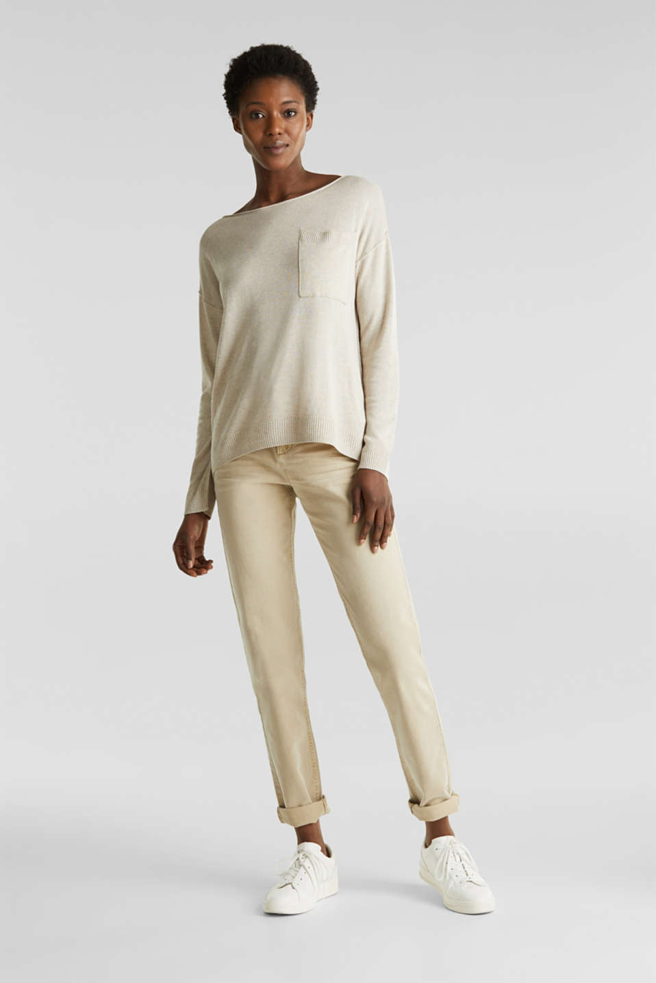 With linen: jumper with a pocket, LIGHT BEIGE, detail image number 0