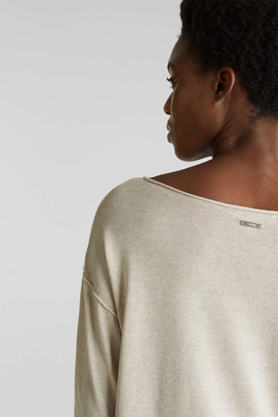 With linen: jumper with a pocket, LIGHT BEIGE, detail image number 1