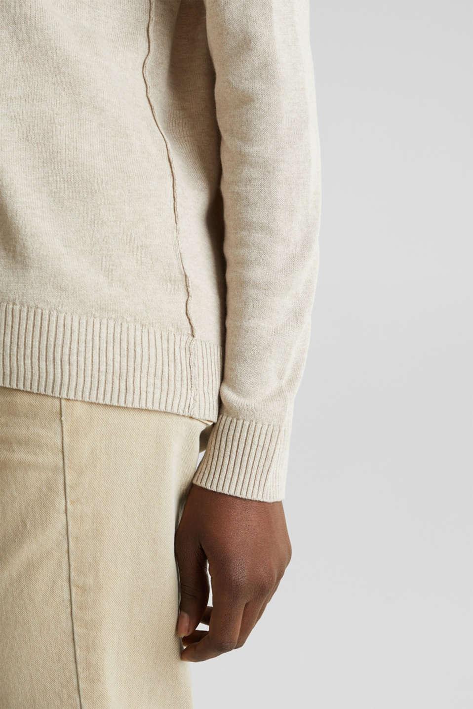 With linen: jumper with a pocket, LIGHT BEIGE, detail image number 3