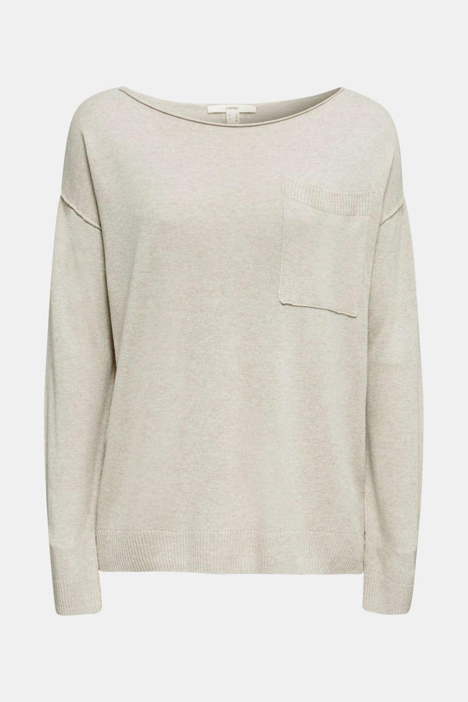 With linen: jumper with a pocket, LIGHT BEIGE, detail image number 4