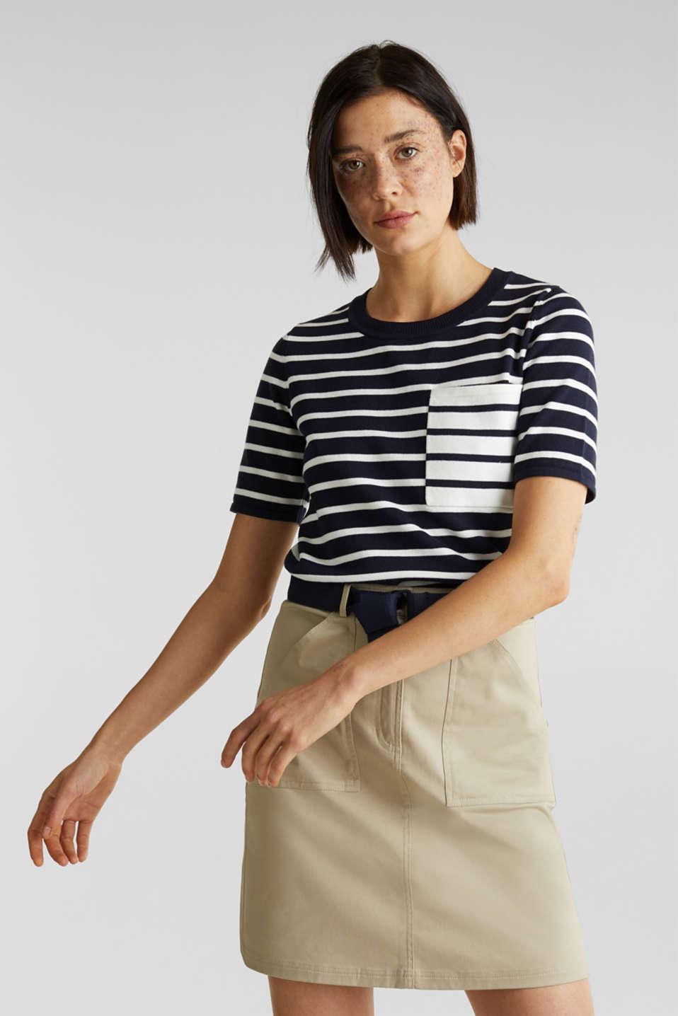 Short-sleeved jumper with a breast pocket, NAVY, detail image number 0