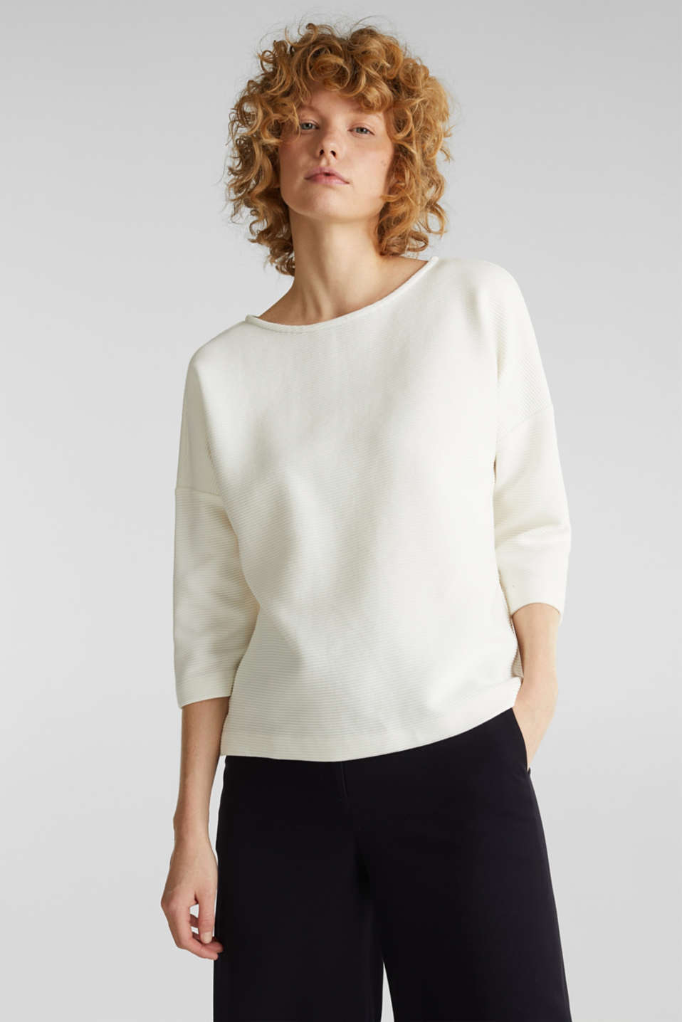 Boxy sweatshirt with a ribbed texture, OFF WHITE, detail image number 0
