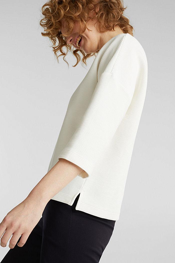 Sweat-shirt carré, à la texture côtelée, OFF WHITE, detail image number 5
