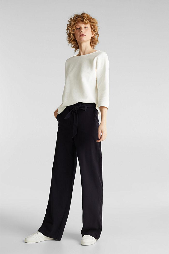 Sweat-shirt carré, à la texture côtelée, OFF WHITE, detail image number 1