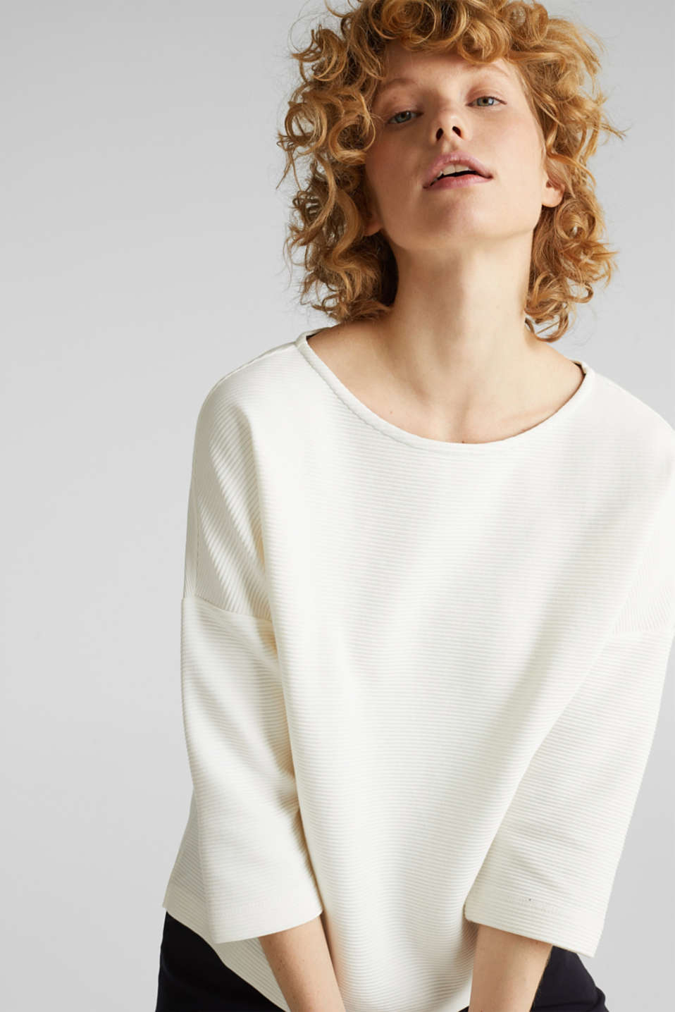 Boxy sweatshirt with a ribbed texture, OFF WHITE, detail image number 6