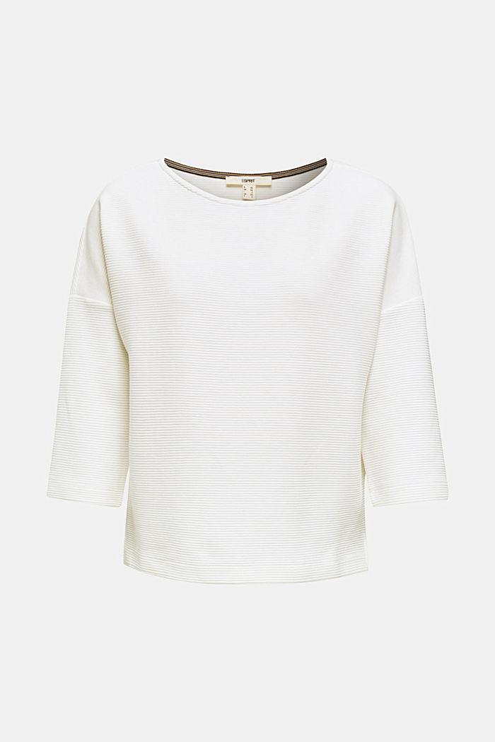 Sweat-shirt carré, à la texture côtelée, OFF WHITE, detail image number 0