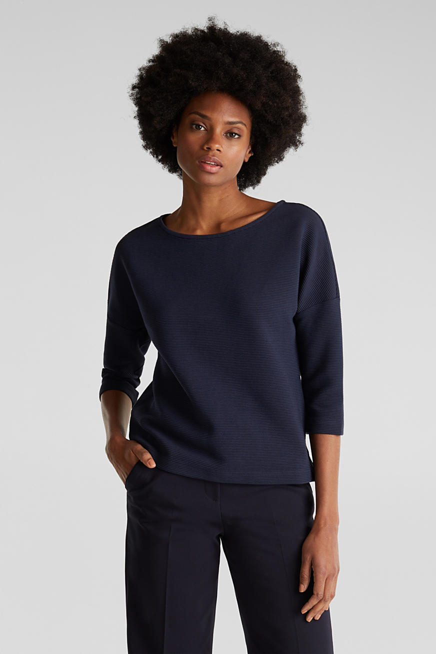 Boxy sweatshirt with a ribbed texture