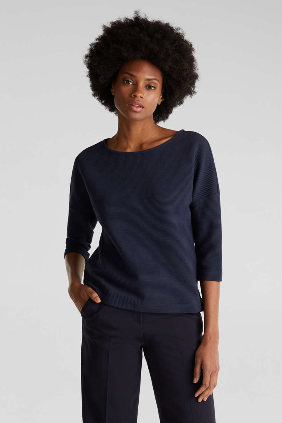 Esprit - Boxy sweatshirt with a ribbed texture