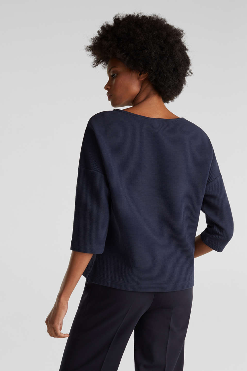 Boxy sweatshirt with a ribbed texture, NAVY, detail image number 2