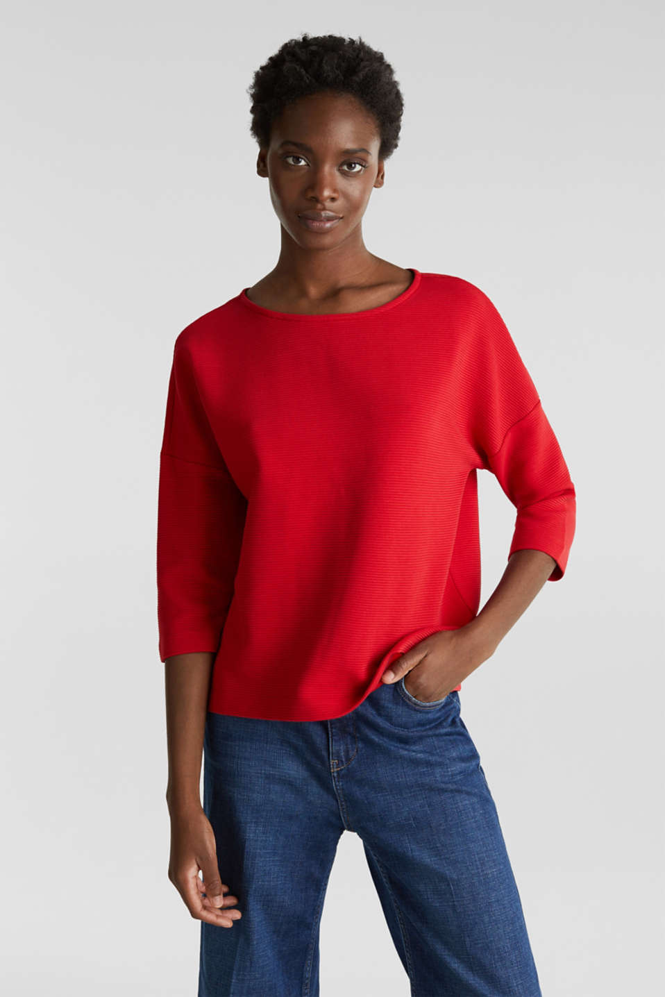 Boxy sweatshirt with a ribbed texture, DARK RED, detail image number 0