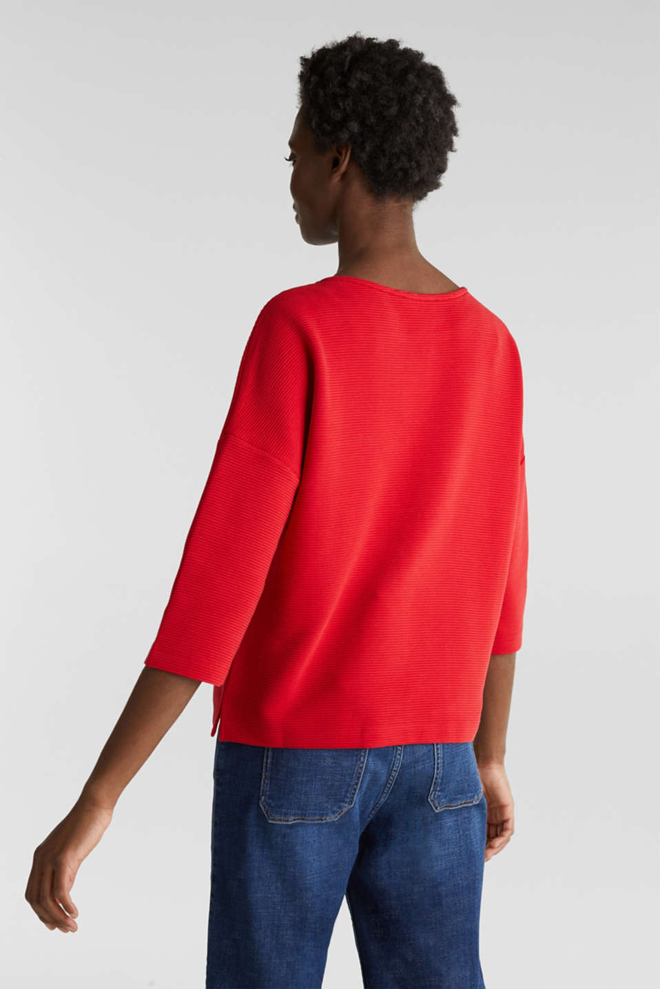 Boxy sweatshirt with a ribbed texture, DARK RED, detail image number 3