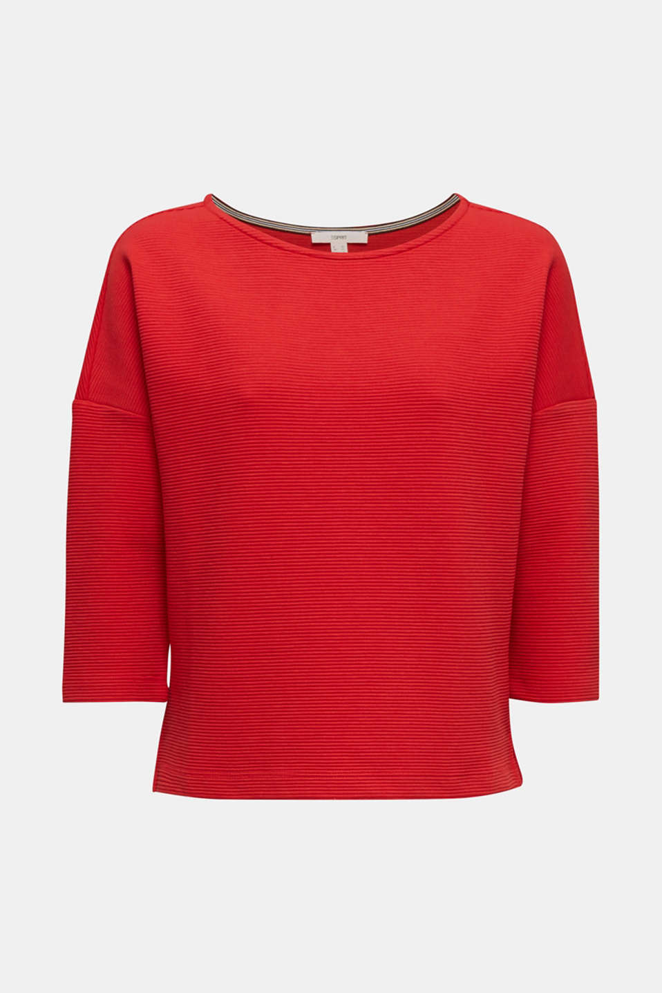 Boxy sweatshirt with a ribbed texture, DARK RED, detail image number 8