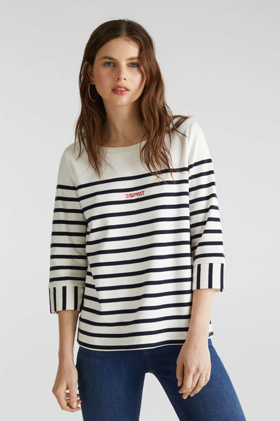 Striped cotton sweatshirt, OFF WHITE, detail image number 0