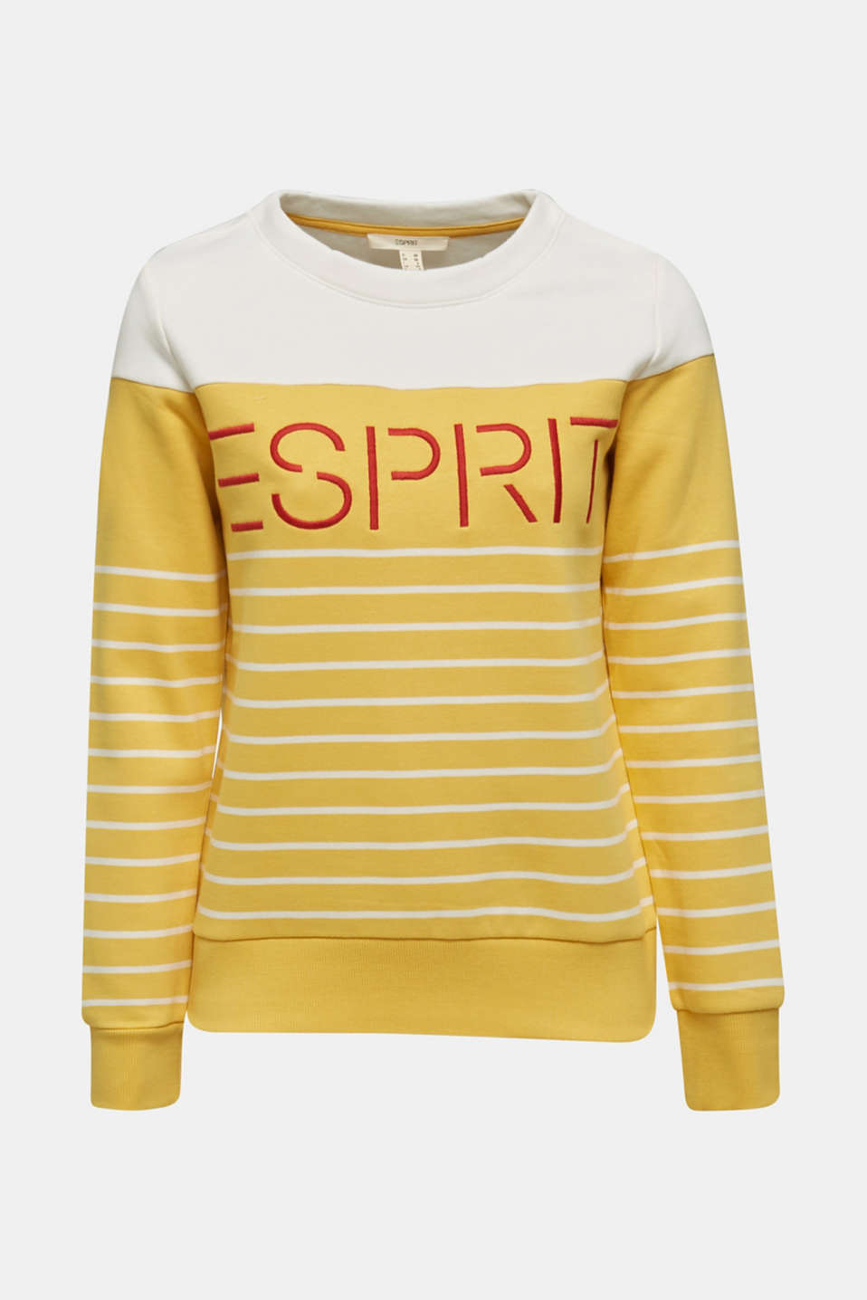 Sweatshirt with an embroidered logo, YELLOW, detail image number 4