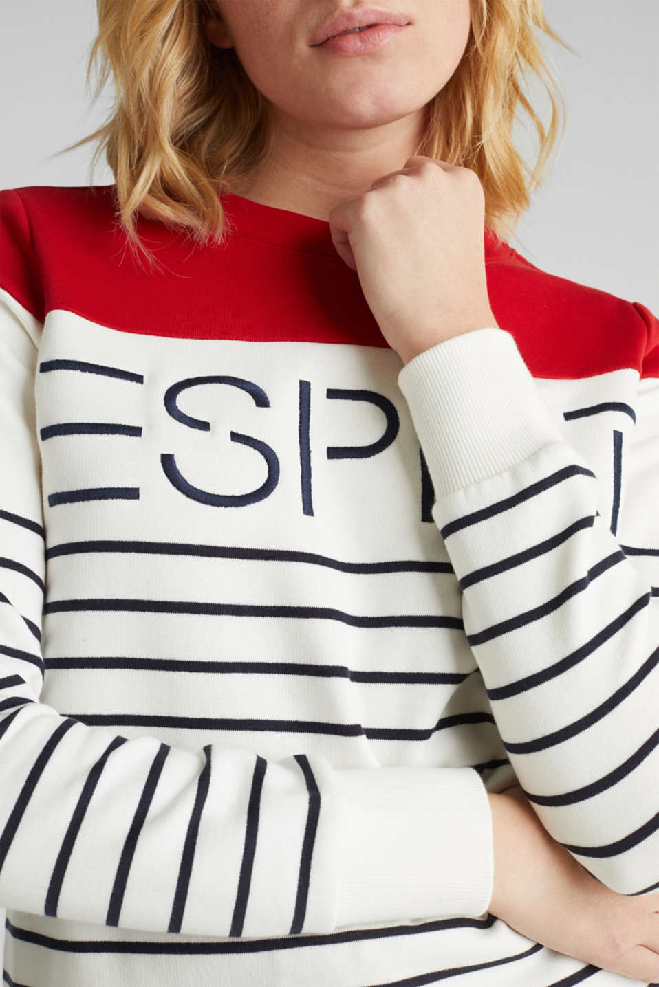 Sweatshirt with an embroidered logo, OFF WHITE, detail image number 2