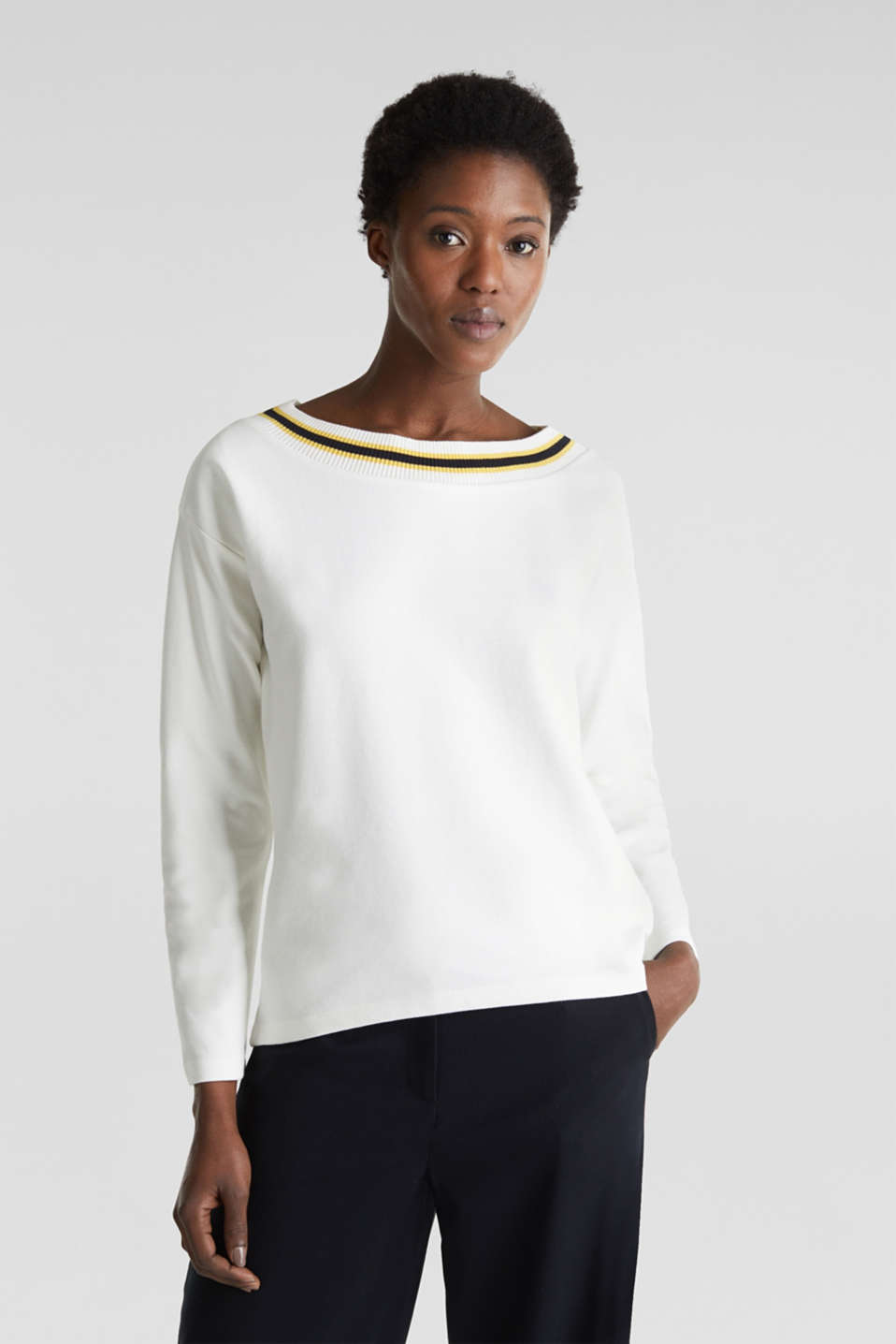 Esprit - Sweatshirt with striped cuffs