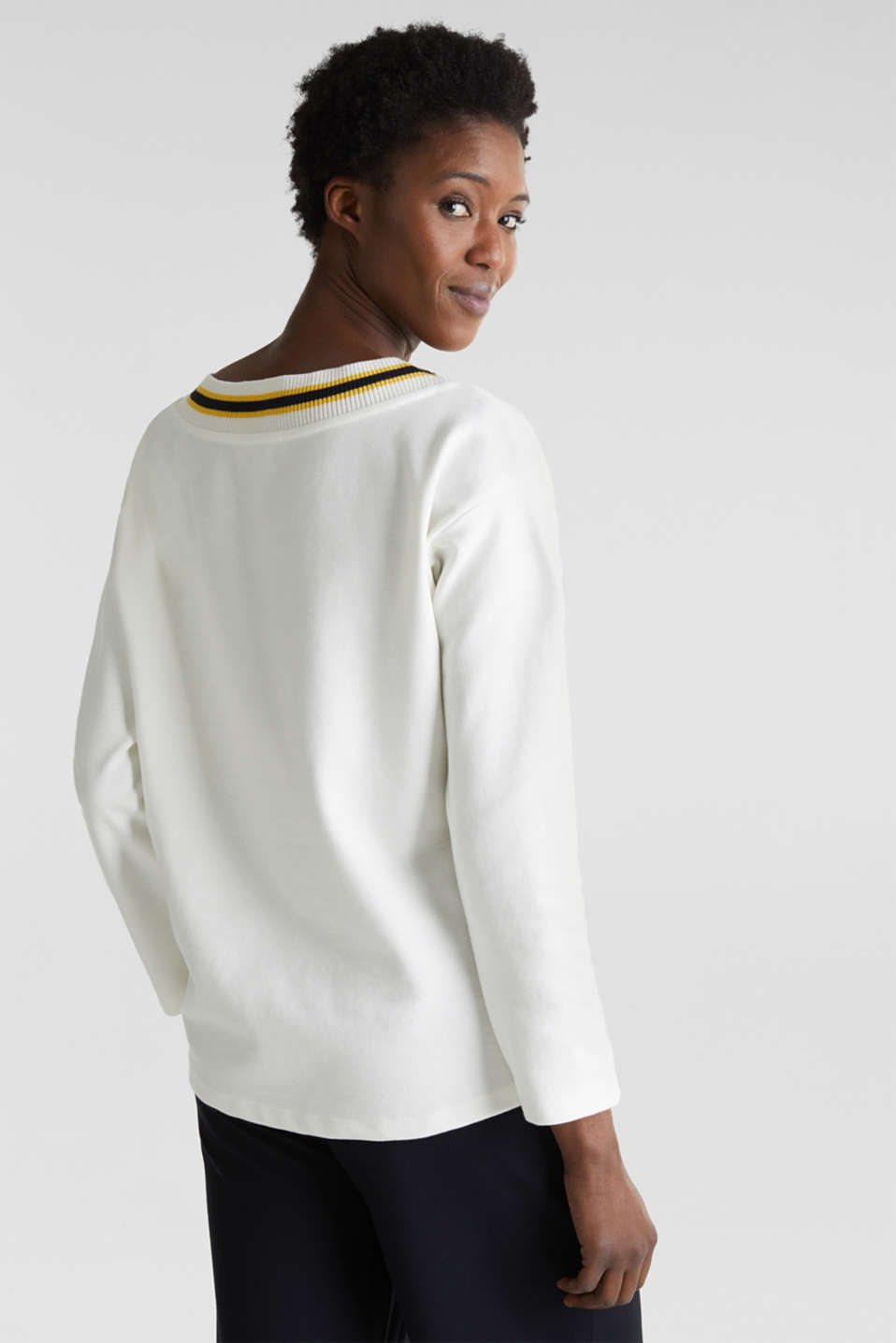 Sweatshirt with striped cuffs, OFF WHITE, detail image number 5