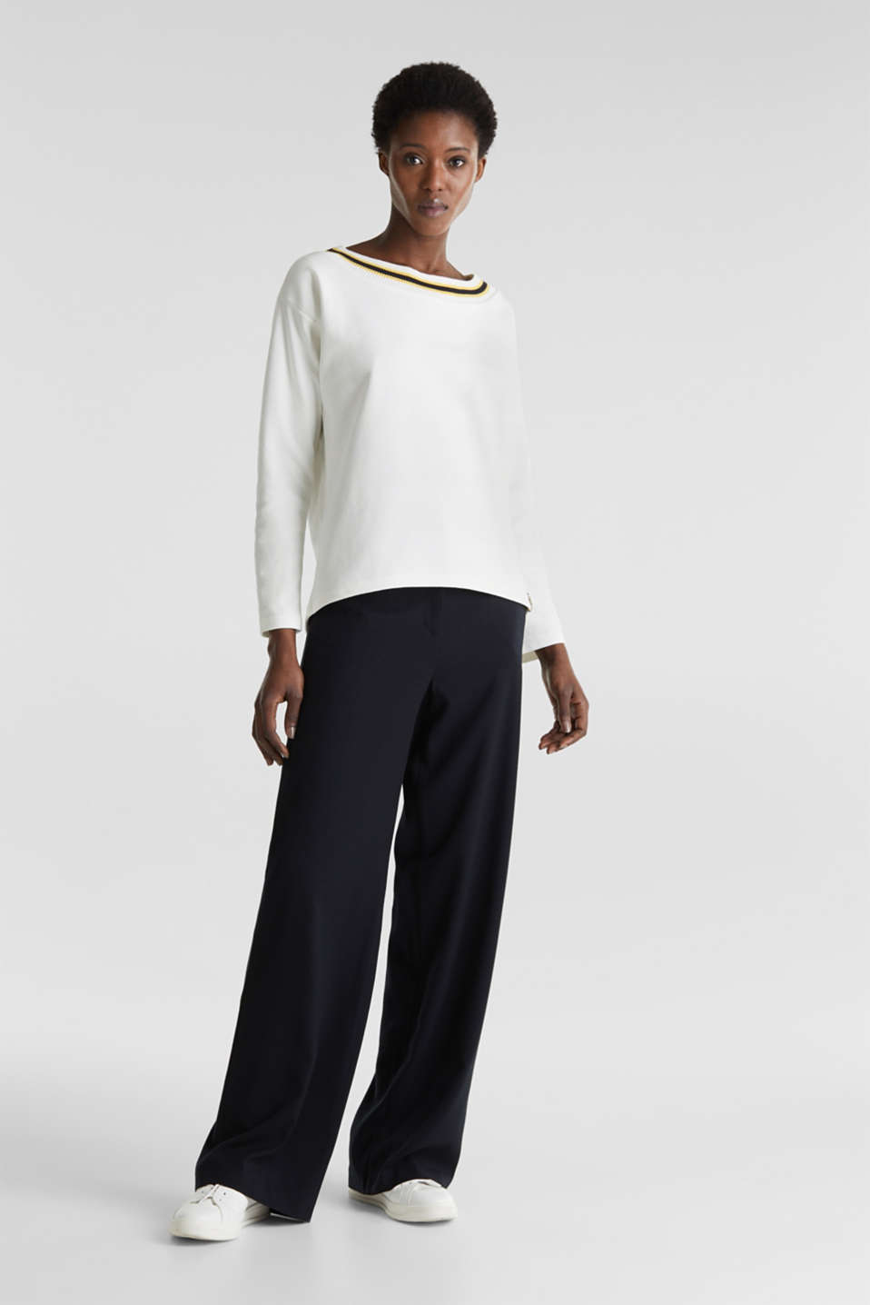 Sweatshirt with striped cuffs, OFF WHITE, detail image number 1