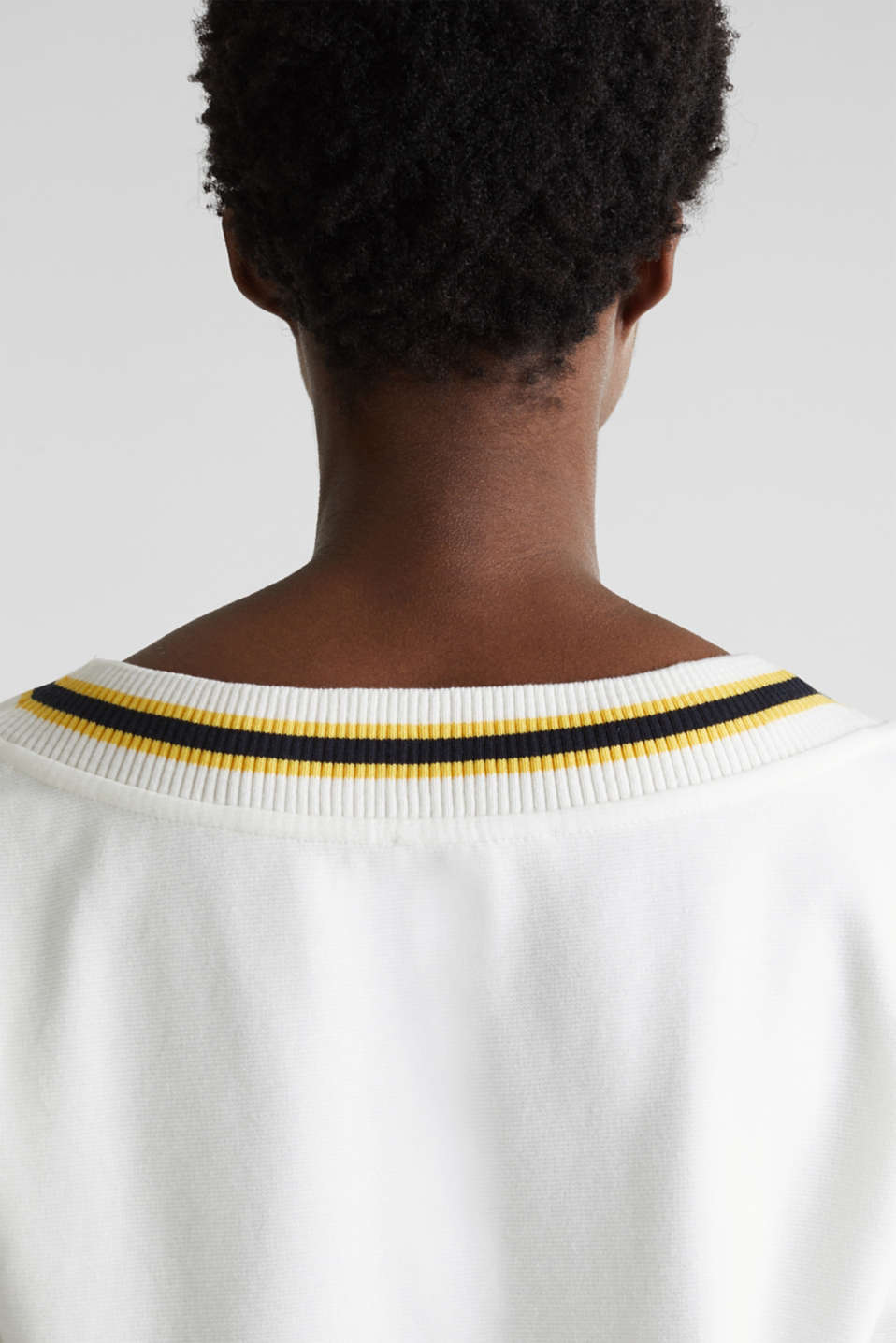Sweatshirt with striped cuffs, OFF WHITE, detail image number 2