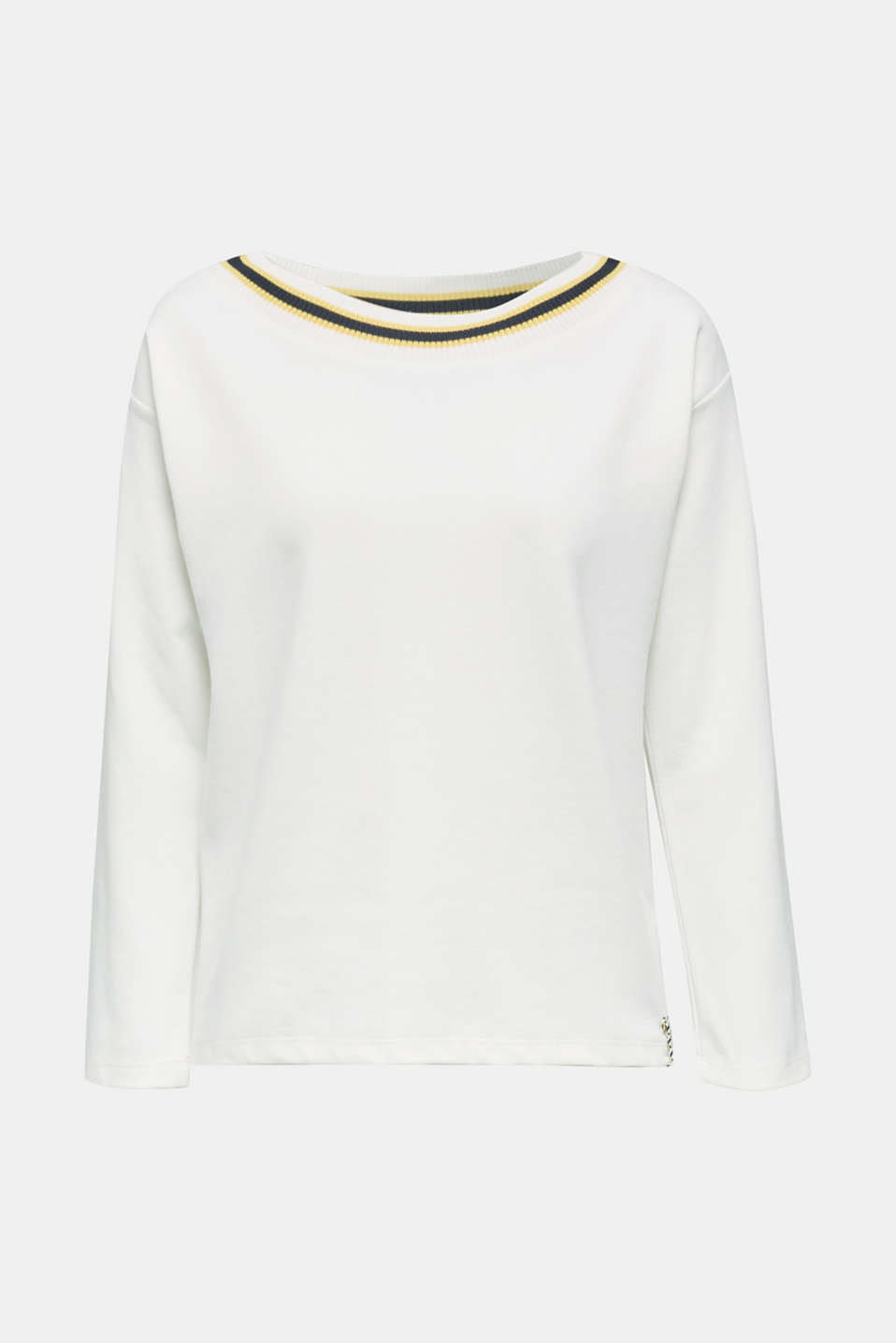 Sweatshirt with striped cuffs, OFF WHITE, detail image number 7
