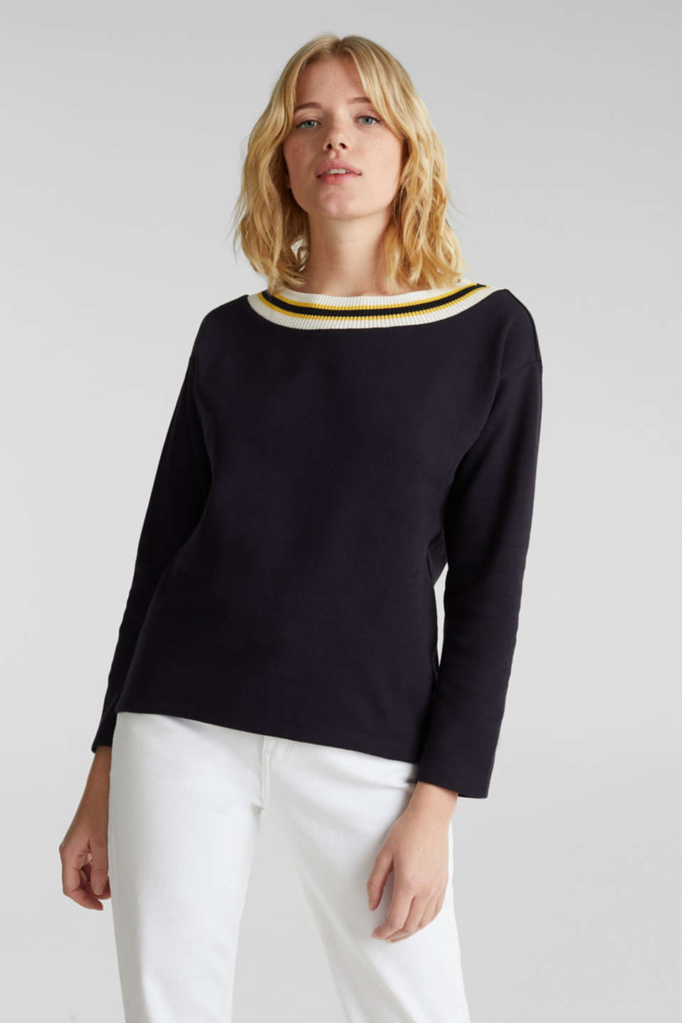 Sweatshirt with striped cuffs, NAVY, detail image number 0